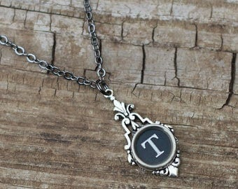 Initial Necklace, Letter T, Vintage Typewriter Jewelry, Teacher Gift, Personalized Pendant