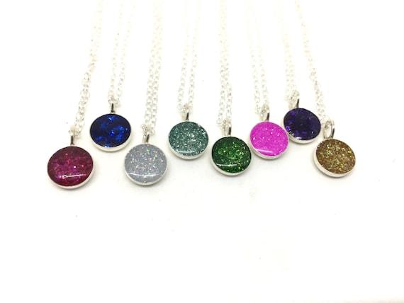 SALE! PINK Sparkle necklace silver charm necklace tiny charm necklace glitter necklace sterling silver charm necklace silver