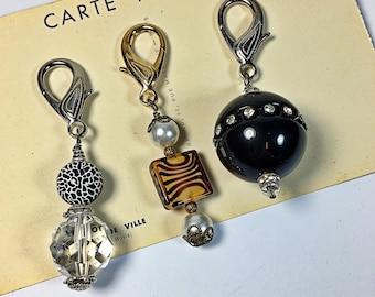 Lot  of 3 Animal print zipper pulls beaded vintage purse charm