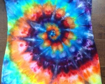 Size XL strapless tie dye top rainbow swirl tube top tie dye halter top upcycled tie dye