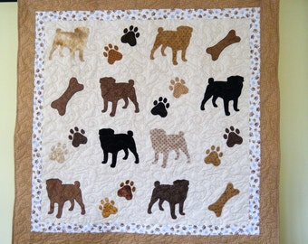 PUG quilt throw size  -  53 x 52 inches