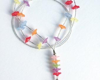Garden Blooms - beaded badge lanyard - multi colored flower glass beaded ID badge lanyard necklace for teacher nurse gift