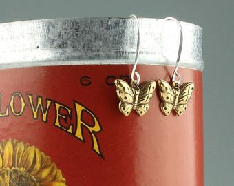 Sterling Silver with Vintage Brass Butterlies Dangle Earrings, Vintage brass butterfly dangle earrings