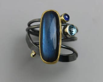 Labradorite, Blue Topaz and Sapphire Cocktail Ring. Size 8.