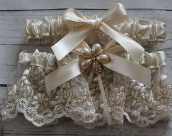 Ivory/Champagne Lace with Ivory Satin Ribbons Unique Pearl and Rhinestone Bling-Toss Garter Included-LAST ONE