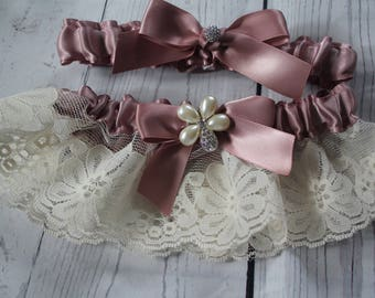 Antique Mauve and Vintage Ivory Lace- Ribbons and Unique Pearl and Rhinestone Bling-Toss Garter Included