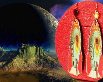 Pop Culture Retro Rocket Ship Paper Earrings Funky Quirky Kitsch Vintage Style Handmade Lightweight Dangles Blast Off !