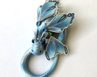 Frost Dragon Necklace Winter Fairy Rider, Miniature Polymer Clay Dragon Pendant