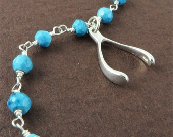 Sterling Silver Wishbone Bracelet Blue Turquoise Gemstone Bracelet Gift under 50 Bridesmaid Gift Birthday Wish
