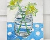 Daffodil Polka, original mixed media still life painting by Polly Jones