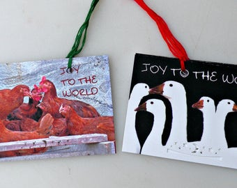 Joy To The World set of 8 gift tags, chickens, geese,holiday, Christmas, New year,greetings