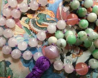 Rose quartz pink and green Mala style necklace with purple tassel