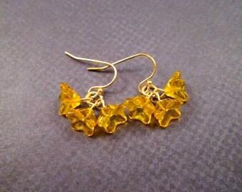 Flower Earrings, Sunny Yellow Ruffle Blossoms, Gold Dangle Earrings, FREE Shipping U.S.