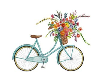 Floral Art, Vintage Bike, bicycle, floral bicycle,  Floral Watercolor, Flowers Illustration Farmhouse Art, Children's Wall Art, Nusery Decor