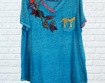 Floral Beaded Embroidered Boho 3x Shirt Top Blouse XXXL Plus Size Eco Friendly Recycled Clothing Floral
