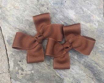 Turf Tan Hair Bows,Pigtail Hair Bows,Toddler Hair Bows,Non Slip Hair Bows, 3 Inch Hair Bows
