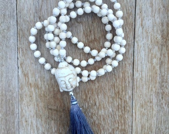 Winter White BoHo Mala inspired Necklace