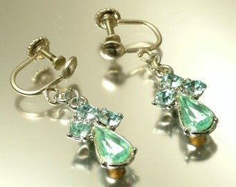 Vintage/ antique Art Deco 1950s chrome plated & pale blue paste rhinestone, leaf costume drop screw on earrings, jewelry jewellery
