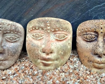Trio of Art Doll Face Cabochons or pendants - handmade - Faux Stone