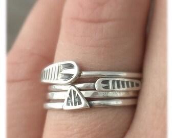 stacking rings - sterling silver rings - tribal rings - stackers - arrow rings- unique rings - boho rings - bohemian rings - stacker set
