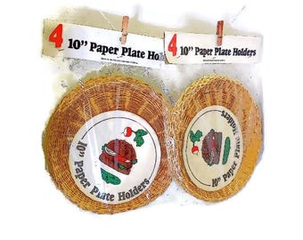 NIP Rattan Paper Plate Holders | Unopened Package 10 Inch Paper Plate Holders