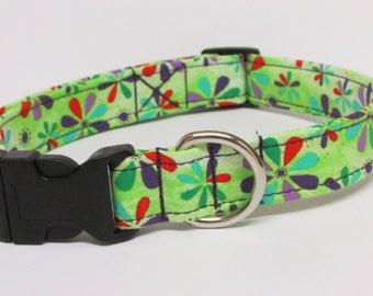 Green Floral  Printed Handmade Dog Collar