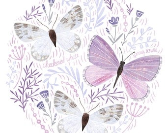 Purple Butterfly Art Print - square digital illustration by Stephanie Fizer Coleman