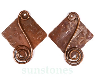 Handmade Rustic Copper Earring Components - One set (four pieces) EC338