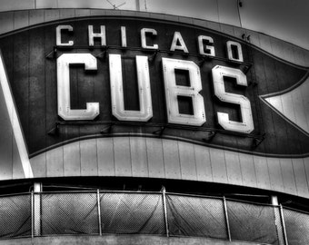 Chicago Cubs Ballpark, Wrigley Field, 8x12 Fine Art, Black and White Print