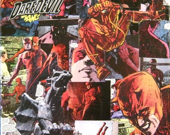 Daredevil Decoupage Comic Collage Canvas