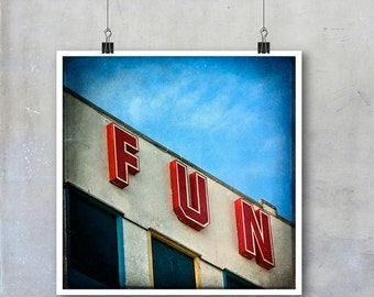 Retro Fun Sign Signage Blackpool Pier English Seaside red blue white sky holiday summer 12x12 18x18 15x15 22x22 square inch photogra