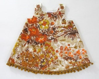 Autumn Floral Girls' Dress - Baby Dress - Toddler Girls' Dress  - Sizes Newborn to 4T - Earth Tones Floral with Wooden Buttons, Gold Fringe