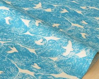 Japanese Fabric cloud birds - blue - 50cm
