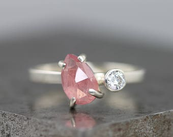White Gold Pink Sapphire, Moissanite Ring - Diamond Alternative Engagement or Everyday Ring - Dual Two Stone Ring - Rose Cut Sapphire Pear