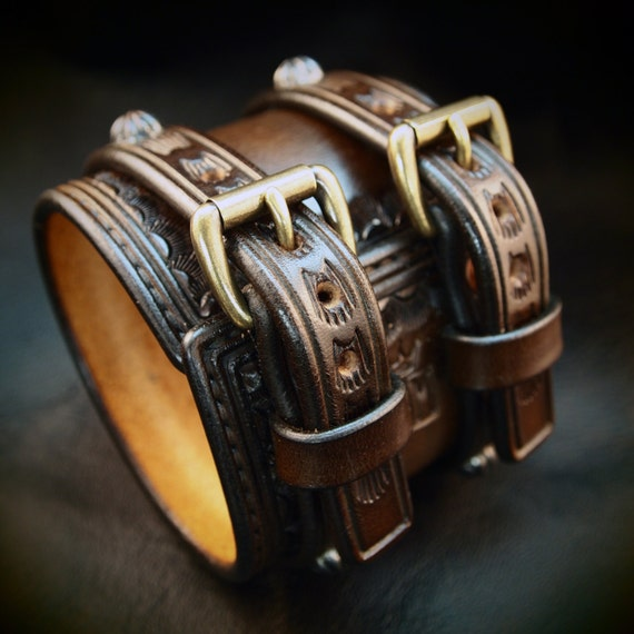 Leather Wrist Cuff Saddle brown Traditional American Cowboy ROCKSTAR Bracelet made for YOU in NYC by Freddie Matara