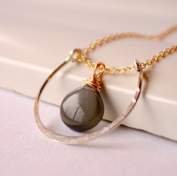 Grey Moonstone Pendant Necklace. Horseshoe Pendant Necklace. Polished Gray Moonstone Pendant. Mixed Metal Pendant Necklace.