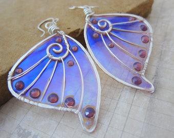 Sihaya Designs Faery Wing Earrings - Leanan Sidhe - Iridescent Fairy Wing Jewelry