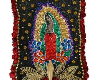 Virgin de Guadalupe Altar,Sequined Guadalupe Patch,Mexican Mixed Media Art Work,Jesus Statue,Mexican Folk Art,Dia de los Muertos