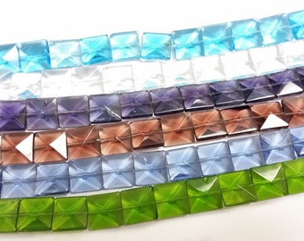 Amazing Deal-5 strands mix color square facted glass beads-2653i