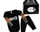 ABCD Rockstar Baby Kit black onesie with tattoo sleeves shirt & pants