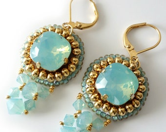 Aqua Crystal Earrings, Pacific Opal, Swarovski Crystals, Turquoise, Gold Earrings, Beadweaving, Beaded Jewelry, Beaded Earrings, OOAK