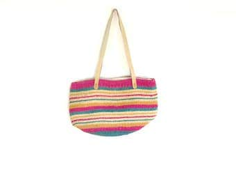woven colorful market bag