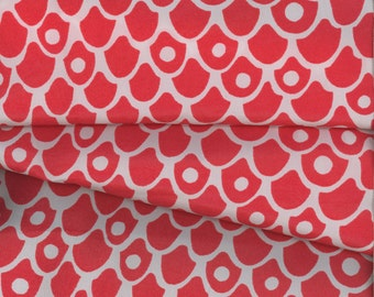 Feisty Vintage Red Scallop Fabric from the 70's 3+ Yards!