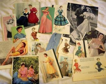 Vintage Ephemera, Ladies Fashion, Women's Dresses, 1950's Fashion, Collage, Scrap Booking, Paper Dolls, Evening Gowns, Magazine Illustration