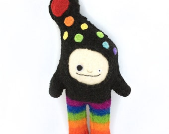 Rainbow Strange Foo - Recycled Wool Plush Toy