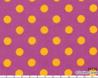 HALF YARD - Lecien - Color Basic - 4524-PUY  Yellow Large Polka Dots on Purple - Japanese Import Fabric