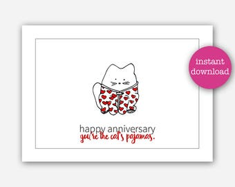 Funny Pun Anniversary Card Printable, Cute Cat Lover Anniversary Card  Instant Download Girlfriend Wife Boyfriend