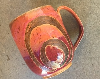 Sunset mug, coffee mug, tea cup, handmade pottery mug