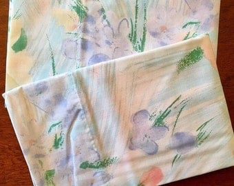 HOLIDAY SALE - Unused Vintage Pillowcases - NOS Cannon Monticello Percale - Watercolor Floral Nip Cases