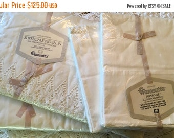 BIG SALE - Full Set Vintage All Cotton Wamsutta Supercale - Luxurious Percale - Combed Percale Sheet Set - Ivory Eyelet Lace Sheet Set Anniv